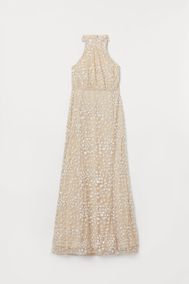 H&M Sequin-embroidered Long Dress - Beige