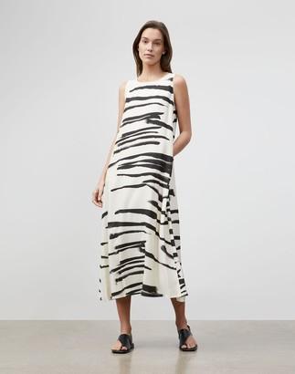 Lafayette 148 New York Ross Dress In Painted Zebra Stripe Print Drape Cloth