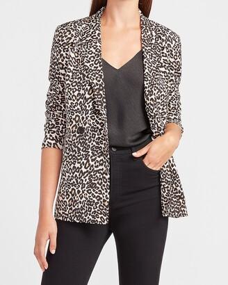 Express Leopard Boyfriend Blazer