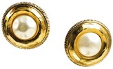 Chanel Gold Tone Faux Pearl Round Clip On Earrings