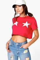 Boohoo Tia Raw Edge Star Print Crop Sweatshirt