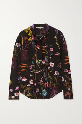 Stella McCartney Pussy-bow Floral-print Silk Crepe De Chine Blouse - Black