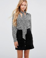 Goldie Wild World Printed Blouse With Detachable Neck Tie