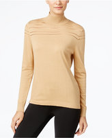 August Silk Mock-Neck Illusion-Striped Sweater