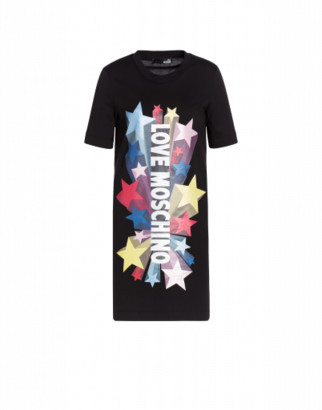 Love Moschino Glitter Stars Jersey Dress Woman Black Size 38 It - (4 Us)