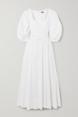 STAUD Juliette Stretch-cotton Poplin Maxi Dress - White