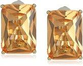 T Tahari Rectangular Faceted Stone Gold/Light Peach Clip-On Earrings