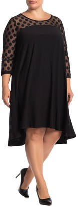 Nina Leonard Hi/Lo 3/4 Sleeve Trapeze Dress (Plus Size)