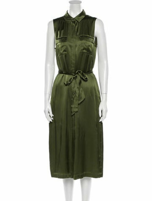 CAMI NYC Silk Midi Length Dress w/ Tags Green