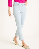 So Slimming Striped Side-Slit Hem Girlfriend Ankle Jeans