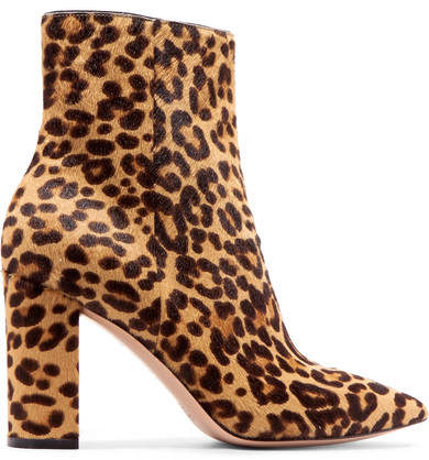 Gianvito Rossi 85 Leopard-print Calf Hair Ankle Boots - Leopard print