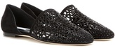 Jimmy Choo Globe Flat crystal-embellished perforated suede ballerinas