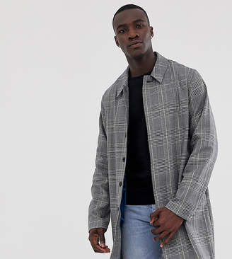 Asos Design DESIGN Tall trench coat in grey check