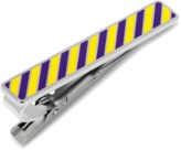 Ox and Bull Trading Co. Varsity Stripes Purple And Yellow Tie Clip.