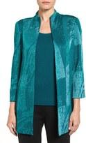 Ming Wang Abstract Knit Mandarin Collar Jacket
