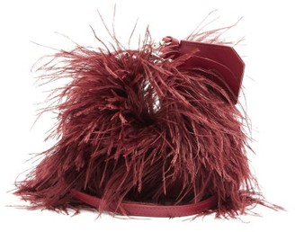Marques Almeida Feather-trimmed Leather Bag - Burgundy