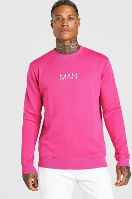 boohoo Mens Pink Original MAN Crew Neck Sweatshirt, Pink