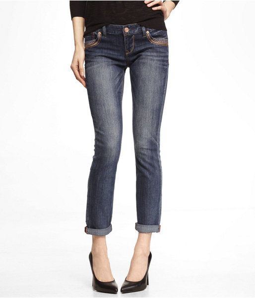 Express Studded Rolled Ankle Skinny Leg Jean