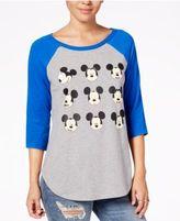 Hybrid Juniors' Mickey Mouse Graphic Raglan T-Shirt