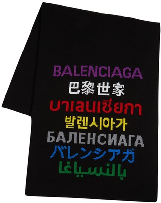 Balenciaga Multi Languages Logo Wool Blend Scarf