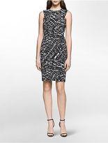Calvin Klein Womens Geo Print Sheath Dress Black/White 4