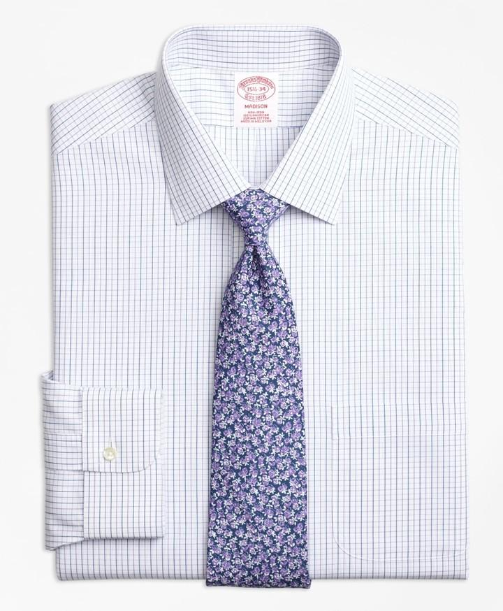 Brooks Brothers Madison Classic-Fit Dress Shirt, Non-Iron Alternating Windowpane