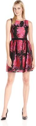 Taylor Dresses Women's Shantung Burnout Floral Fit and Flare Dress