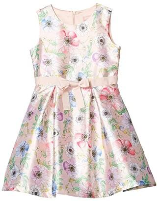 BCBG Girls Printed Poly Fit-and-Flare Floral Dress (Big Kids) (Rose Petal) Girl's Clothing