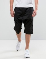 MHI Shorts In Black With Drop Crotch