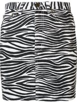 Saint Laurent zebra print denim skirt - women - Cotton - 26