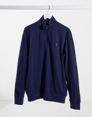 Polo Ralph Lauren player logo half zip pique mesh sweatshirt in navy marl