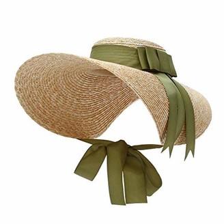 GEMVIE Women's Retro Style Large Brim Sun Hat Elegant Flat Top Boater Straw Sun Hat Derby Sun Hat with Ribbon Band Green