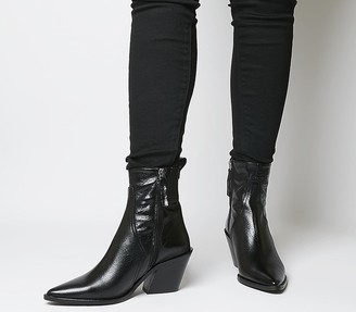 Office Americano Material Mix Western Boots Black Groucho Leather