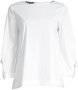 Lafayette 148 New York June Ruched-Sleeve Blouse