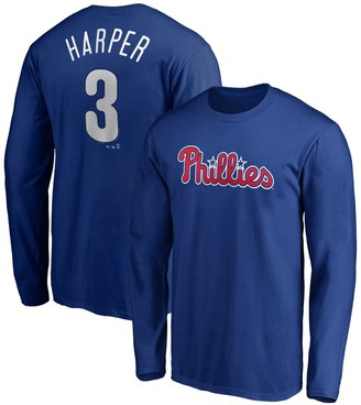 Majestic Bryce Harper Philadelphia Phillies Long Sleeve Name & Number T-Shirt - Royal