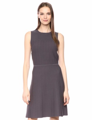 Anne Klein Women's Textured FIT and Flare Sweater Dress