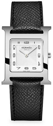 Hermes Heure H 26MM Stainless Steel & Leather Strap Watch