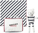 Junior Gaultier White and Navy Stripe Blanket and Teddy Gift Set