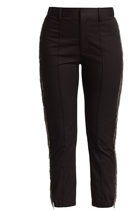 le superbe Alessio Metallic Fringe-Trim Pintuck Pants