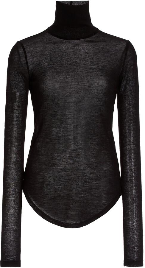 Thumbnail for your product : FRANCES DE LOURDES Women's Lucie Cashmere-Silk Turtleneck Top - Black/white - Moda Operandi