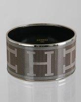 black enamel pixelated 'Recherche' wide bangle