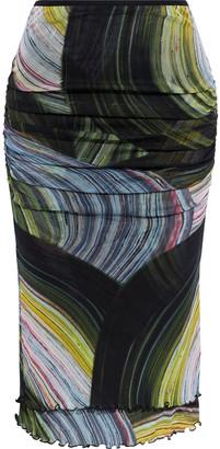 Diane von Furstenberg Elaine Ruched Printed Stretch-mesh Skirt