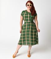 Unique Vintage Plus Size Green Plaid Print Amelia Cap Sleeve Swing Dress