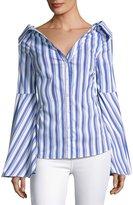 Caroline Constas Persephone Striped Décolleté Shirt, Blue