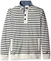 Nautica Men's Long Sleeve 1/2 Button Down Striped Sweatshirt