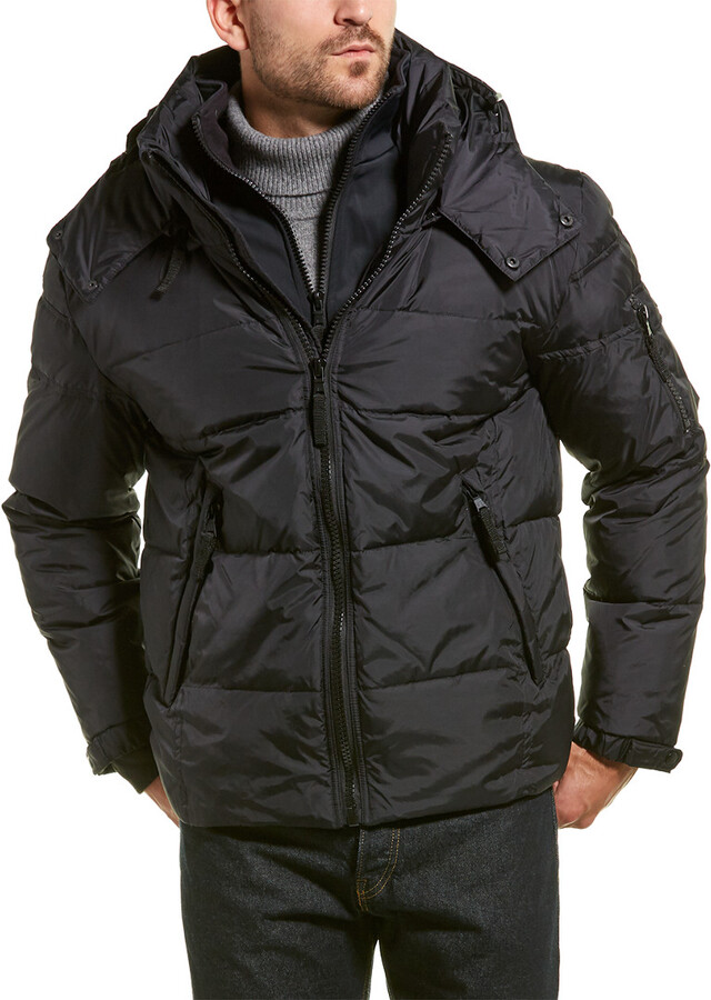S13 Mens Matte Downhill Down Coat with Removable Faux Fur Hood