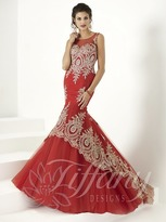 Tiffany Designs - Gorgeous Mermaid Gown with Metallic Hi-Low Applique 16171