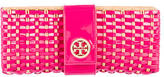 Tory Burch Patent Leather-Trimmed Straw Clutch