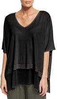 Eileen Fisher 3/4-Sleeve Silk Jersey Easy Top