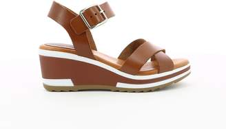 Kickers Wind Leather Platform Sandals with Cross-Strap